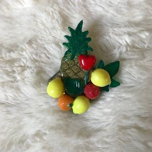 Sparkly Pineapple and Fruit Brooch